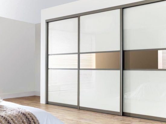 White interlayer-laminated glass& bronze mirror