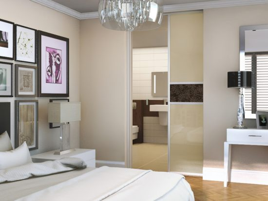 Beige interlayer-laminated glass& wallpaper print