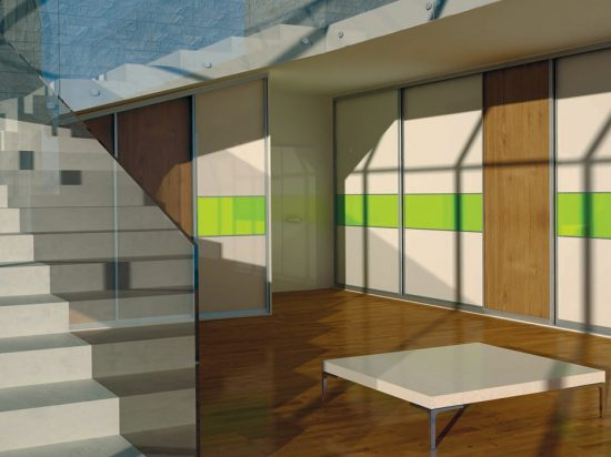 McKinley white panel& Lime Green interlayer-laminated glass break