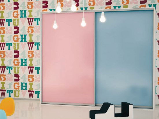 Pink/Blue interlayer-laminated glass