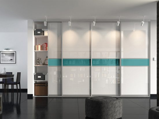 UV-treated Ultra-white gloss panel& cyan glass laminate