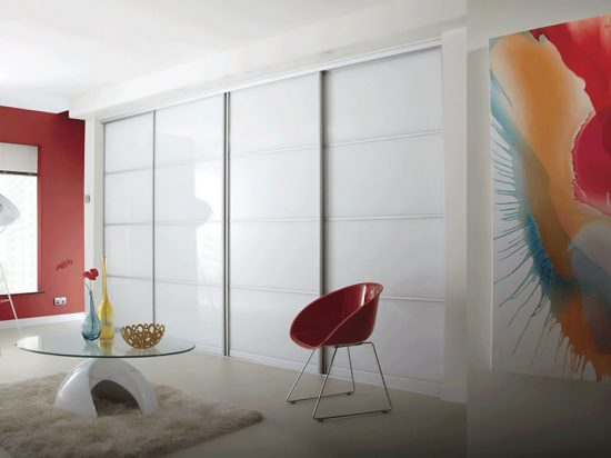 Sectioned Solid White interlayer-laminated glass