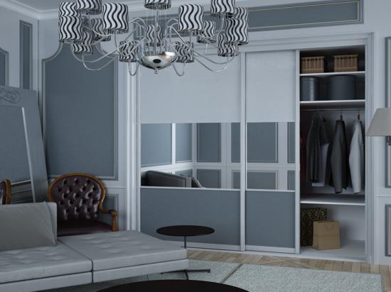 Satin White/ Slate panels & Clear mirror