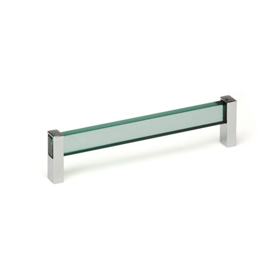 Tress Green Glass and Chrome Pulls