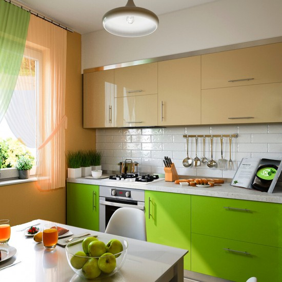 kitchen with beige and green facades